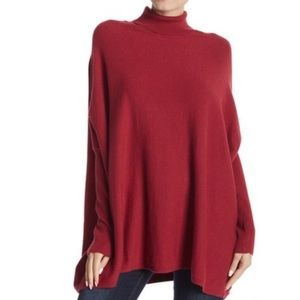 JOSEPH A Red Oversized Turtleneck Tunic Sweater